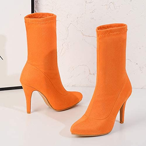 NA Gel Nail Mid Boots Frauen, Damen Stretch Wildleder Booties, Spitze Stiletto High Heels Damenschuhe,Orange,35