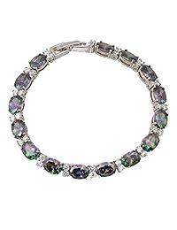 Dana Fashion Bracelets Bracelets & Bangles for Women Rainbow Mystic Topaz Silver Jewelry 19.5cm 7.67inch B019