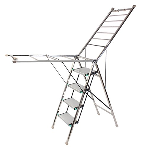 Step Ladder 4 Step, Multi Purpose Drying Rack For Home Indoo