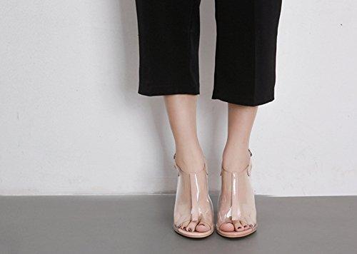 Schnalle Zehen Aprikosenfarben Slingback Aisun mit Damen Sandale Transparent Offene Kunststoff Blockabsatz Eqzaq7x