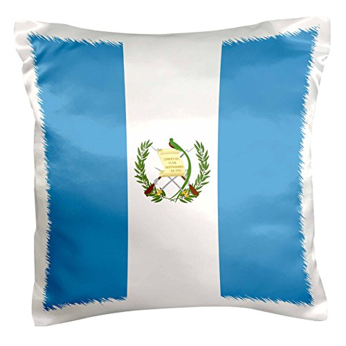 (3dRose Flag of Guatemala - sky blue and white with Guatemalan coat of arms - Resplendent Quetzal bird - Pillow Case, 16 by 16-inch (pc_158323_1))
