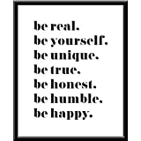 Be Real be yourself be unique be true be honest be Humble be happy Live Laugh Love I Love You Quote Frase Funny Blanco y Negro Cuadro decorativo Print Animales Regalo Arte Poster Cuadro Decorativo Art Wall Art Vintage Decor Home Decor Decoración Retro Hipster Cool