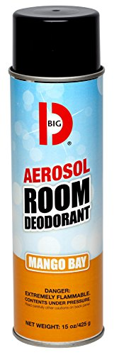 Big D 431 Aerosol Room Deodorant, Mango Bay Fragrance, 15 oz (Pack of 12) - Industrial strength handheld air freshener ideal for restrooms, offices, schools, restaurants, hotels, (Aerosol Room Deodorant)