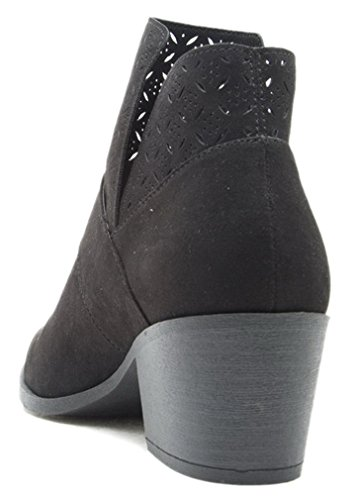 Women Cut Out Bootie Lace Up Slip On High Heel Platform Wedge Ankle Bootie Black-p Buckle zgIRhHzAKH