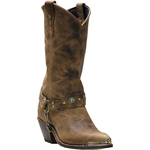 Abilene Women's Distressed Harness Cowgirl Boot Round Toe Tan 8 M (Studded Harness Cowgirl Boots)