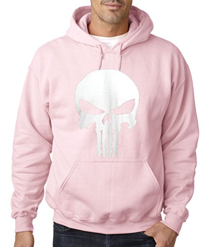 New Way 216 - Hoodie The Punisher Skull Unisex Pullover Sweatshirt Medium Light Pink (Pink Skull Hoodie)