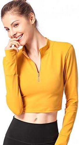 女性スポーツは、親指穴ジッパーがワークアウトを実行するためのヨガシャツを実行すると長袖ヨガスポーツウェアトップス,A,L