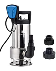 """FLUENTPOWER Stainless Longer Duration Submersible Water Removal Pump, with Voidable Float Switch Function, 3/4"""" Standard Garden Hose Connector Included, 1HP 4000 GPH for Clean and Dirty Water"""