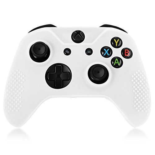 TNP XBox One / XBox One S / XBox Elite Controller Case (White) - Soft Silicone Gel Rubber Grip Case Protective Cover Skin for XBox One S / XBox Elite Wireless Game Gaming Gamepad Controllers