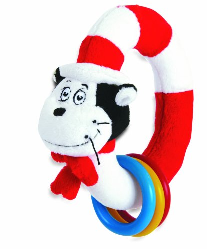 Manhattan Toy Dr. Seuss Cat in The Hat Take and Shake Ring Rattle and Teether -