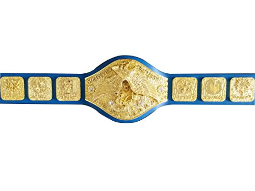 Fandu Belts Backlund era Adult World Heavyweight Wrestling Championship Replica Belt Blue Strap by Fandu Belts