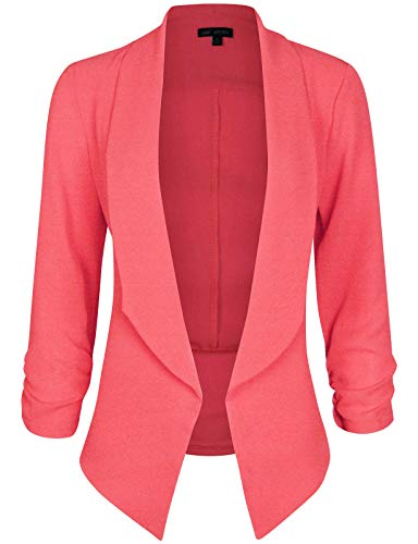 Coral Places Springs (Michel Women's 3/4 Sleeve Blazer Casual Open Front Cardian Jacket Work Office Blazer Coral Small)