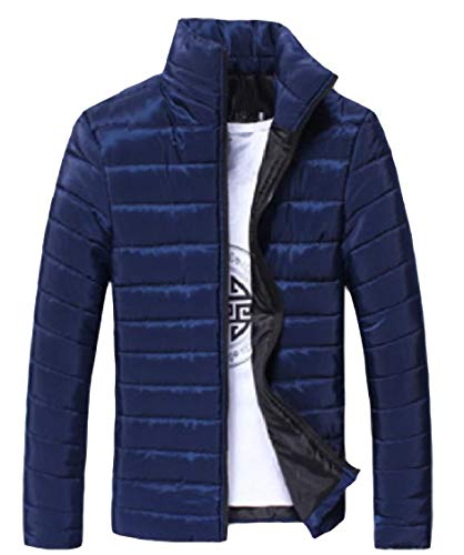 Puffer Jacket Zipper Collar Men's Solid Fitted Energy Sleeve Warm Stand Pattern3 Long nzFwUnq