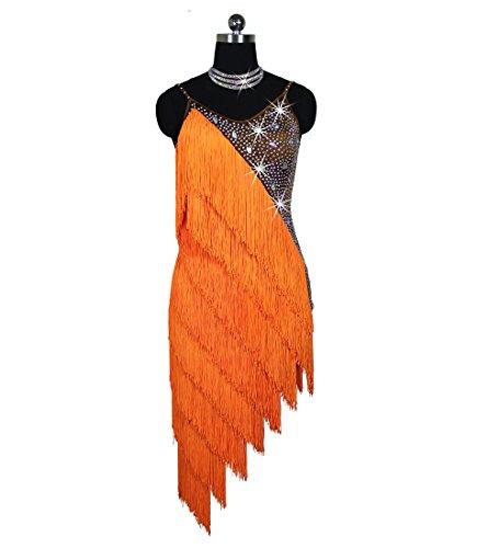 Custom Made Competition Dance Costumes (Limiles Women Rhinestone Fringe Latin Dresses Girls Competition Tassel Dance Performance Costume)