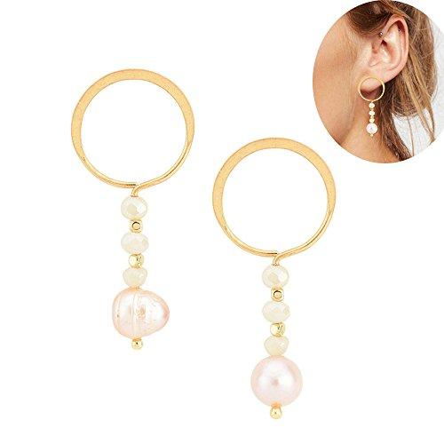 Bigbabybig Dangle Stud Earrings Hoop Natural Pearl for Women Geometry Girls (Inspired Pearl Earrings)