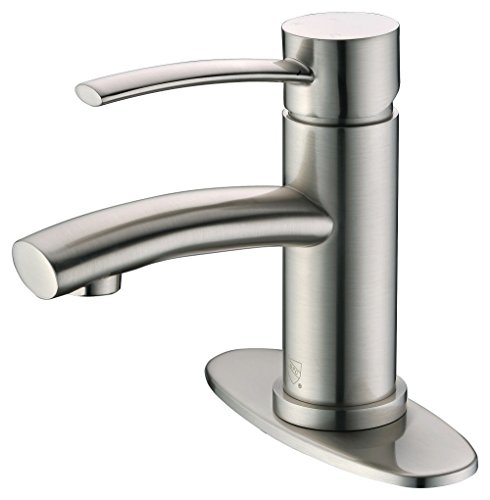 Purelux Bellona Contemporary Design One Handle Bathroom Sink Faucet with Deck Plate, cUPC NSF Lead Free Certified, Brushed Nickel (Faucets Bathroom Contemporary Sink)