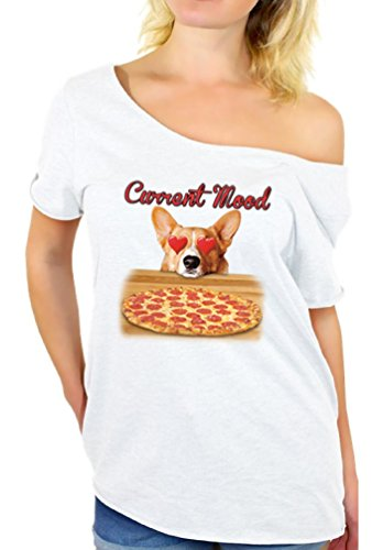 Awkward Styles Women's Current Mood Off The Shoulder Tops for Women T Shirts Funny Dog Pizza Lover White L