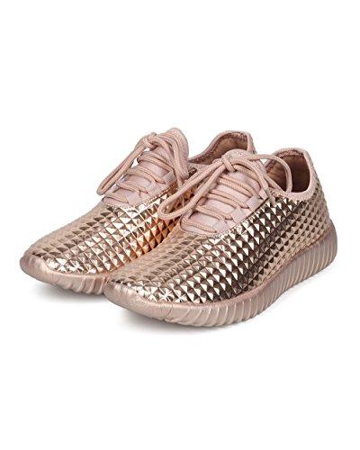 Sneaker Jogger Sneaker Da Donna Con Borchie A Piramide Color Argento - Hf79 By Wild Collezione Diva Oro Rosa Metallizzato