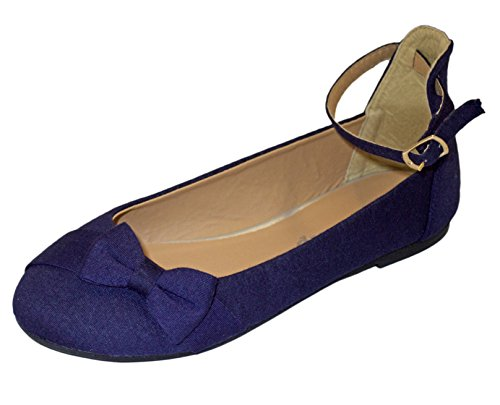 Girls Pretty Bow Flip On Flats With Bow Tie ( Little Girl / Kids ) Ballet Flats Ballerina Shoes (11 Kids, Navy)