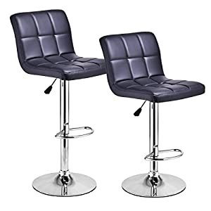 Costway Set Of 2 Swivel Bar Stools Bonded Back Adjustable Hydraulic Modern  Leather Counter Pub Chair (Black)