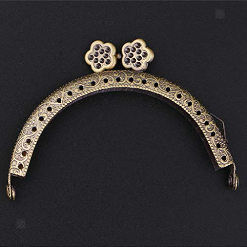 - 8.5x5cm Metal Plum Blossom Frame Kiss Clasp Lock Arch for DIY Purse Bags Making | Color - Bronze