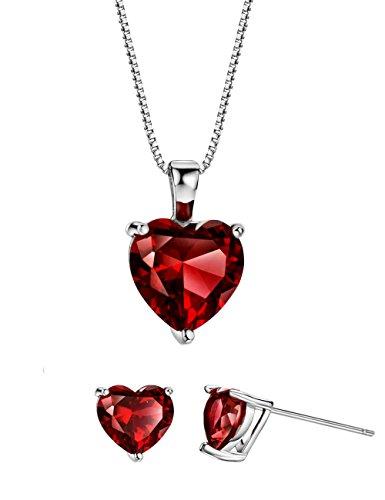 Rhodolite Garnet Heart Jewelry Set Sterling Silver Necklace and Earrings January Birthstone Jewelry for Women