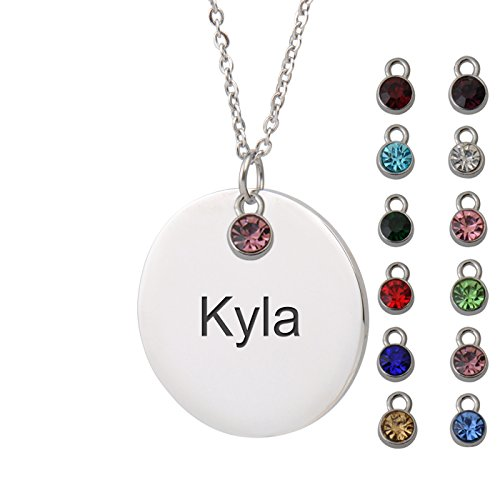 HUAN XUN Kyla Name Sadie Name Necklace Round Initial Necklace Personal Jewelry Birthday Valentine Gift ...