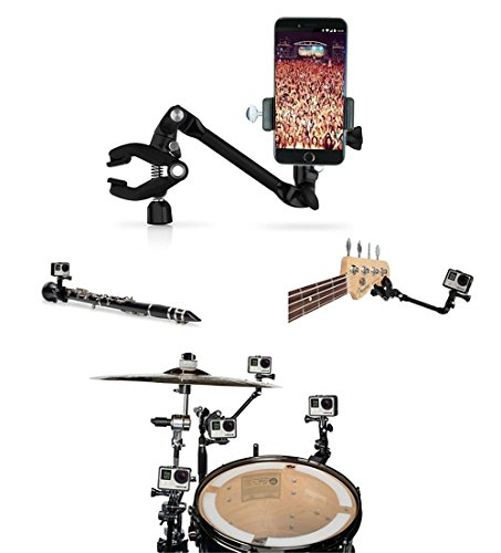 OCTO MOUNTS - 360-degree Adjustable Desktop or Guitar Mic Bass Drum Keyboard Music Stand Mount for Smartphone or GoPro. Compatible with iPhone, Samsung, Android, HTC, GoPro and other Action Cameras. ()
