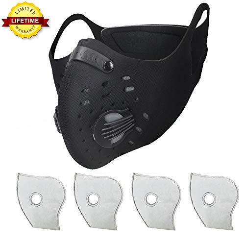 Simwell Dust Masks, Activated Carbon Dustproof Masks 4 Extra Filter Earloop Cycling Mask Running Woodworking House Cleaning Gardening, against Asthma, Pollen Allergies, PM2.5