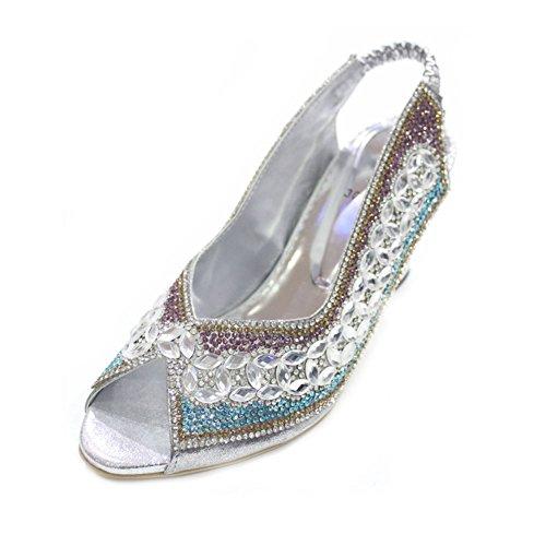Wear & Walk UK W&W Women Ladies Evening Fashion Sandal Comfort Diamante Bridal Wedding Party Block Heel Shoes Size 4-9(Anum) Silver