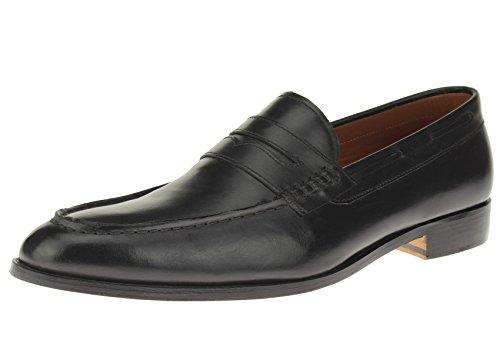 Italian Mens Dress Shoe (Luciano Natazzi Mens Slip-On Full Leather Penny Loafer Dress Shoe SL308 (42 M EU / 9 D(M) US, Black))