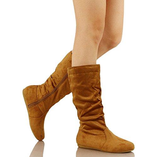 Guilty Schuhe Frauen Winter Leichte Mitte Kalb Kniehohe Komfortable Slouchy - Walking Flache Ferse Mode Stiefel Tan Wildleder