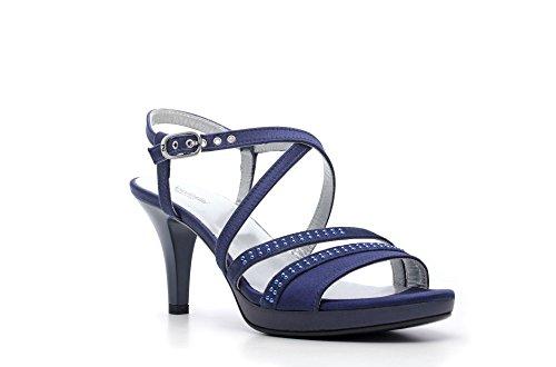 Nero Giardini Sandale talon haut en cuir pour femme Item P615810DE 208 Marine P6 DE 15810