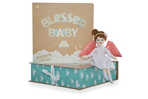 Angels Above Blessed Baby Angel Gift Set With Book Light Skin Girl ()
