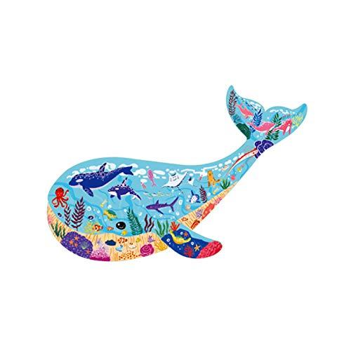 QUANXI Houten legpuzzels voor kinderen, puzzels voor kinderen vanaf 4 jaar, 50 stuks Dierenpuzzels | Walvis | Legpuzzels…