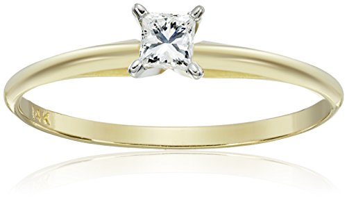 14k Gold Princess-Cut Solitaire Engagement Ring (1/4 carat, I-J Color, I1-I2 Clarity) by Amazon Collection