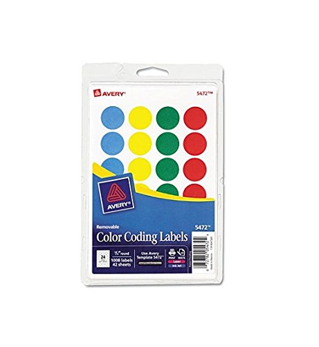 Avery Products - Avery - Print or Write Removable Color-Coding Labels, 3/4in dia, Assorted, 1008/Pack - Sold As 1 Pack - Ideal for document and inventory control, routing, organizing, scheduling. - Labels stick well, remove easily, and leave no residue. -