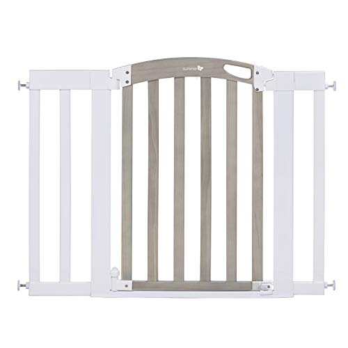 Summer Infant Chatham Post Safety Gate for Doorways & Stairways, with Auto-Close & Hold-Open, Grey Wash & White, 28.5″-42″ Wide