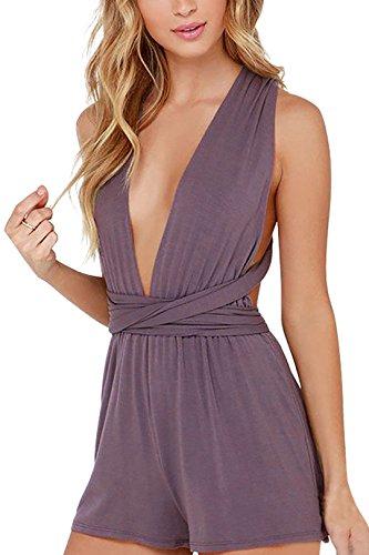 YOINS Women Plunge Neck Sleeveless Multiway Self Tie Backless Playsuit Romper Dusty-Purple# XXS