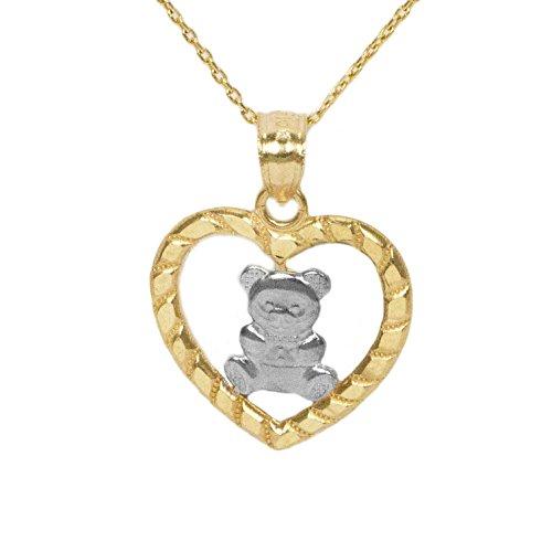 10k Yellow Gold Teddy Bear Heart Necklace