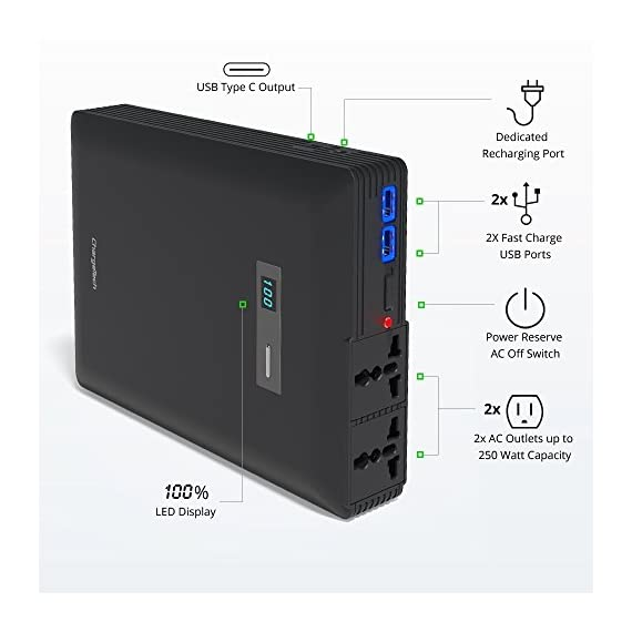 ChargeTech Plug Portable AC Outlet Battery Pack (54000mAh 250W / 110V) - External Power Bank Charger is Compatible with MacBook, Laptop, Camera, Camping, CPAP Machines [Black] 2 TAKE THE WALL OUTLET ANYWHERE - The ultimate portable battery pack. PLUG is a power supply and mini generator. It's compact size, universal compatibility, high capacity and solar recharge capability (sold seperately) means you can enjoy and charge and provide power to your products anywhere. PASS THROUGH CHARGING TECHNOLOGY - These power generators feature pass through charging technology which allows you to charge your devices while the battery pack itself is charging. The portable AC battery station can be used just like you would use a USB hub or surge protector. Add a solar panel charger and take your electronics into the great outdoors and off the grid. POWER YOUR LAPTOP AND CPAP - This battery pack works with all devices up to 250 watts. Power your laptop, CPAP, tablets, phones and other household devices.