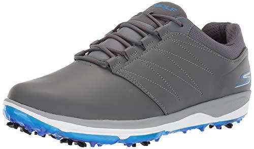 Skechers Men's Pro 4 Waterproof Golf Shoe, Gray/Blue, 12 M US