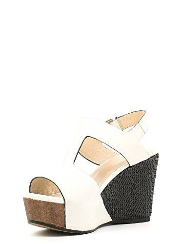 Sandalo a T su zeppa Cafè Noir art.HG182 Bianco