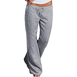 papasgjx Upgrade Women's Drawstring Wide Leg Pants Outdoor Soft Casual Elastic Waist Pants with Pockets (Grey, Tag M/US 6-8)