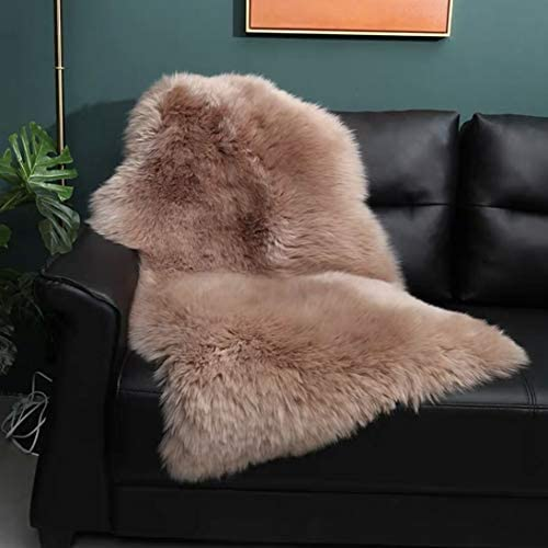 OKAYDA Genuine Australia Sheepskin Area Rug Soft Lambskin Decorative Rug for Bedroom Sofa Floor Single Pelt Brown