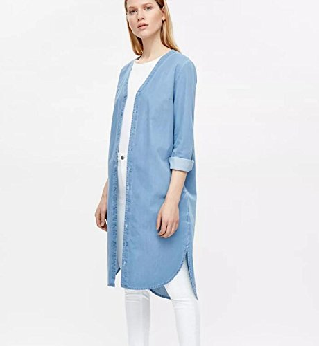 XYLUCKY Sección larga dril gabardina chaqueta mujer . l