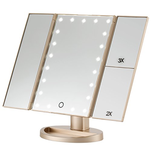 Magicfly Led Lighted Makeup Mirror, 10X 3X 2X 1X Magnifying Mirror 21 LED Tri-Fold Vanity Mirror with Touch Screen and 180° Adjustable Stand, Brightness Travel Beauty Mirror (Gold)