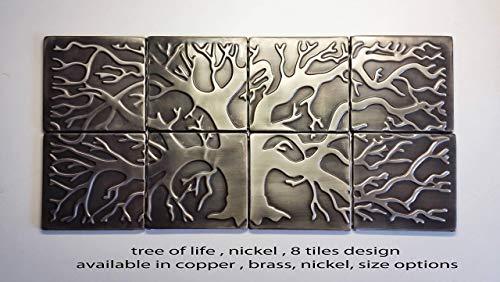 8 metal steel tiles, Tree of life 31.2''x15.6'', kitchen backsplash
