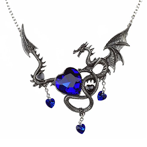 Blue Jade Dragon (Botrong Vintage Punk Necklace Antique Silver Ancient Dragon Pendants Heart Shape Saphire)