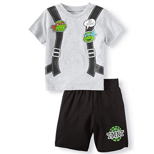 Boys Teenage Mutant Ninja Turtles TMNT Got Pizza Shorts and T-Shirt Set Sleepwear Activewear (4T) (Outfit Turtle)